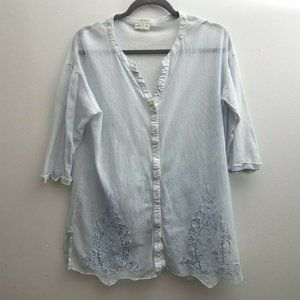 Meadow Rue Anthropologie Top Sz Small Light Blue